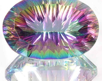 78.95Cts Natural Glittering Rainbow Power Fire Mystic Topaz Oval Concave Cut Gemstone