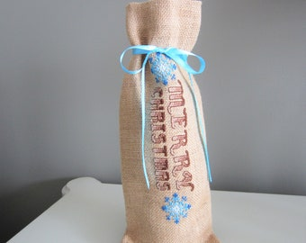 Burlap Wine Bag, Fabric Wine Bag, Wine Gift Bag, Christmas Gift, Wine Bag for Gifting, Wine Cozy, Cross Stitched Wine Bag