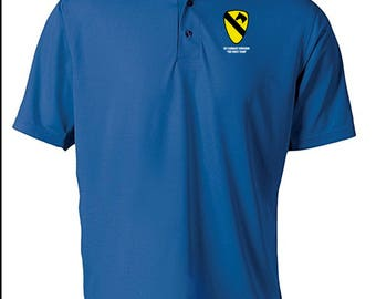 1st Cavalry Division Embroidered Moisture Wick Polo Shirt -4178