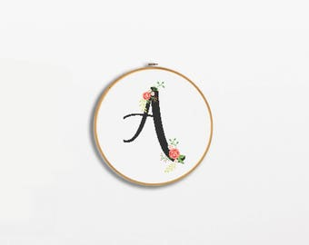 Initial embroidery hoop Initial cross stitch Custom Monogram Hand Embroidered hoop art Wall decor Custom gift Personolised gift Home decor