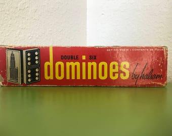 Halsam vintage wooden dominoes set 623-w