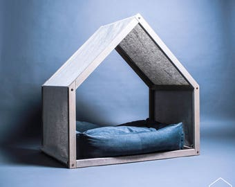 Dog bed etsy au for Bed frame with dog kennel