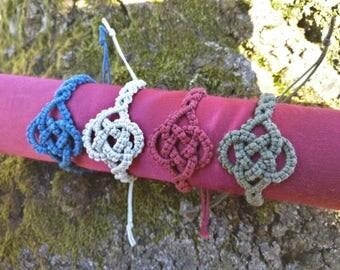 Celtic Knot Macrame Bracelet, Cotton, Handmade with Love