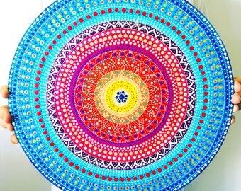 Dot mandala painting  Pointillism yoga art  Wall art Yoga art gift  Boho gift mom Cute mandala idea  Boho art  Ethnic Mandala painting
