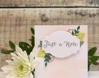 """Just A Note Hand Stamped, Multi Layered Card with Leaves in Pink, Small Card, Size 3x3"""""""