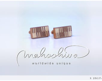 wooden cuff links wood walnut maple handmade unique exclusive limited jewelry - mahoshiva k 2017-113