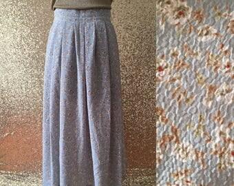 vintage light blue floral midi skirt