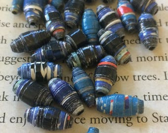 Handmade Upcycled Magazine Deep Blue Paperbeads (30) diy, jewelry making, Paper beads