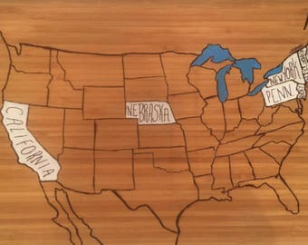 Personal Wood Burned Map
