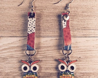 Leather earrings, Owl earrings, Drop earrings,