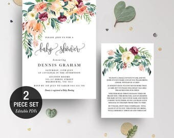 INSTANT DOWNLOAD Floral Bohemian Greenery Baby Shower Invitation Printable Template - BONUS Detail Card