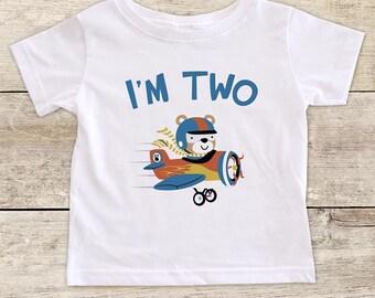 I'm TWO Airplane - Second Birthday Boy Shirt 2nd Age 2 Birthday Shirt Gift