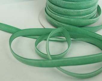 3/8 inch Jade Velveteen Ribbon by the Yard / 10 MM Velveteen Ribbon / Velvet / Jade / ER-V564