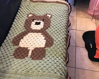 Crochet Corner to Corner Bear Graphghan, baby blanket , baby shower and birthday gift, handmade to order