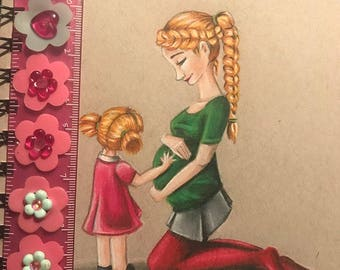 Pregnant mom drawing print