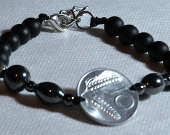 Unisex bracelet, mens, woman with coin and hard stones and metal insert