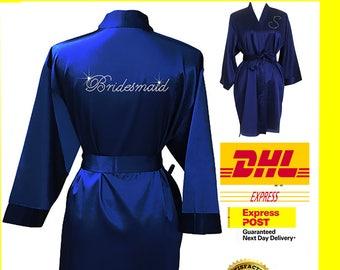 NAVY BLUE Bridesmaid Robes / Bride Robe / Bridal Party Robes / Bridesmaid Gift / Bridal Robe / Monogrammed /Personalised Robe