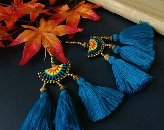 Handcraft Embroidered Tribal Ethnic Earrings Statement Dangle Drop Boho Chic Beaded Tassel Blue Earrings