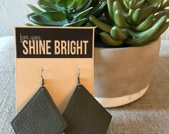 Deep Olive Diamond Leather Earrings