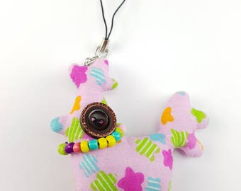 Animal plush keychain, CHOICE OF COLOURS, keyring, button rag doll, novelty button doll, stuffed plush, animal keychain, bag charm,