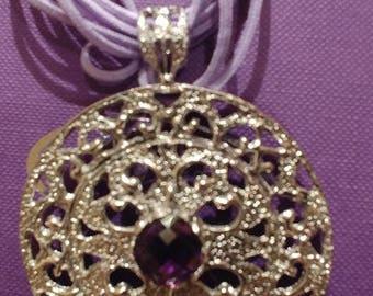 Silver Medallion with handmade amethyst!