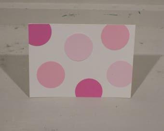 Pink Polka Dot Blank Greeting Cards