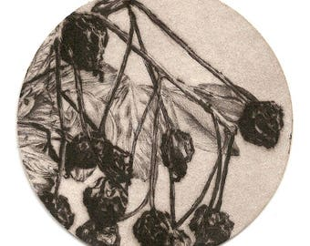 Original etching printed on cardstock of beer / original art engraving printed on coaster