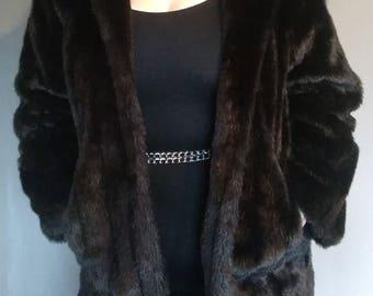 Long Black Faux Fur Coat from Jordache