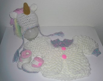 Unicorn Baby Sweater and Hat Set