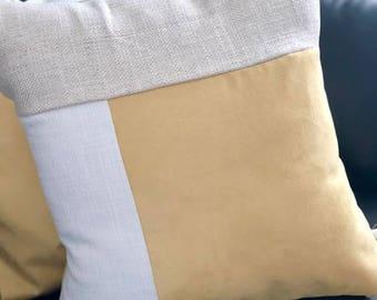 Pillowcase 20inchX20inch Gold&White Decorative Pillowcase