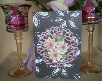 3d greeting card with floral motif