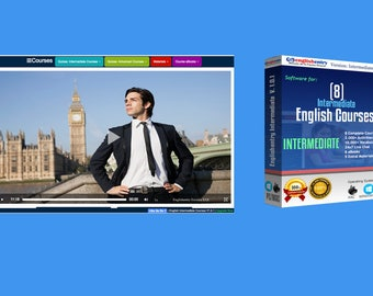 Personal English Intermediate Courses Software - 8 English Courses Intermediate Software - English Learning Software + 8 eBooks for PC x64