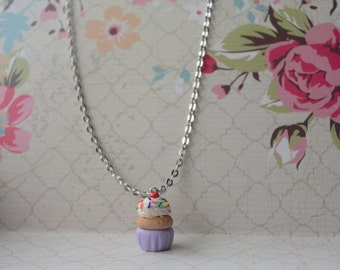 "Polymer Clay Handmade Vanilla Cupcake Sprinkles Pendant Charm ""24 Necklace Silver Color Chain Jewelry Cute Pretty Girls Women"