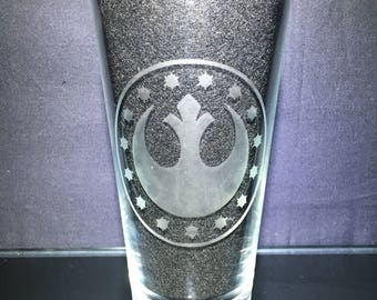 Rebellion Symbol Etched Glass, Star Wars, Unique Custom Gift, Gift for Her, Present for Him