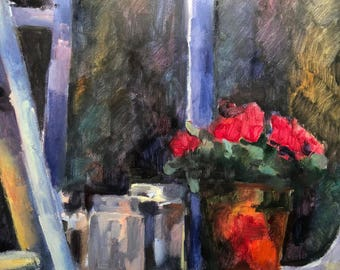 FLOWERS ON WINDOWSILL. Anne Catoire, 116x90, canvas, acrylic.