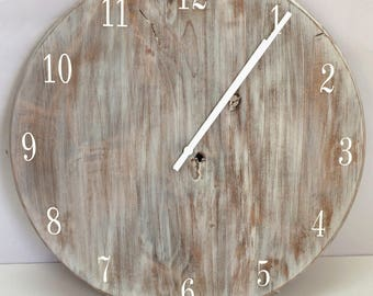 "White Wash Farm Wall Clock 20""-30"""