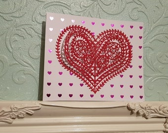 Beautiful Holographic Pink Red And White Heart Card - Valentine's Day - Love - Affection