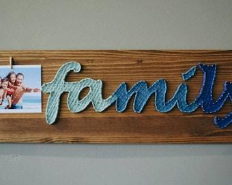 Family Photo Frame Family is Everything Family Love Frame Custom Family Frame 16x20 Wood Frame Every Love Story String Art Frame Photoframe
