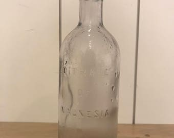 Vintage Glass Bottle - Citrate Of Magnesia USA