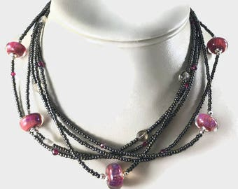Lampwork Bead Necklace, Statement Necklace,  Choker Necklace, Seed Bead Necklace, Chunky Necklace, Multistrand Necklace, Pink Black, Beaded