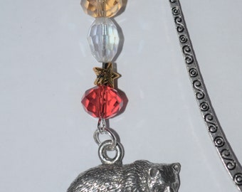 Bear with Cub Bead Bookmark in English Pewter and Gift Boxed, Animal, Countryside, Wildlife