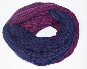 Purple Navy Blue Hand knit Infinity Muffler