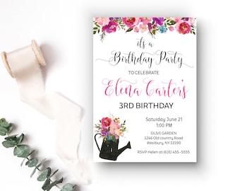 Garden party invite etsy rustic floral birthday invitation garden party birthday 3rd birthday baby girl birthday invite stopboris Choice Image