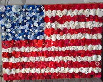American Flag Button Art