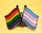 LGBTQ + TRANSGENDER Rainbow Pride DOUBLE Flag Silver-Back Pin for Lapels, Shirts, Backpacks, Hats, etc...