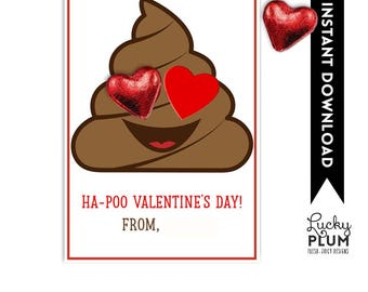 Emoji Valentines Printable Tag / Emoji Poo / Ha-Poo Valentines Day / *Digital Printable