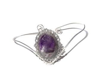 Purple amethyst bohemian upper arm bracelet, armlet.