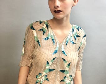 Vintage 1970's Sequined & BEADED Silk Top, DISCO Style Blouse by Argenti, size Small