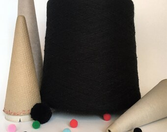 2/24 Acrylic Yarn on Cone - Black - 3 lb 7 oz - Machine Knitting - Weaving - Crochet - Loom