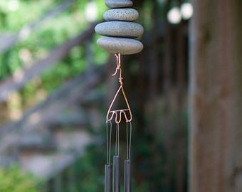 West Coast Zen Beach Stones and Copper Wind Chime